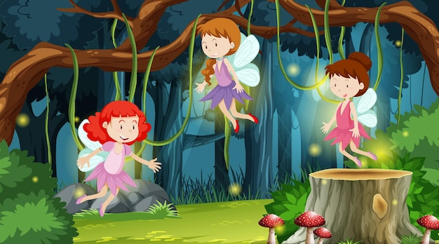 동화 만화 캐릭터와 판타지 숲 장면