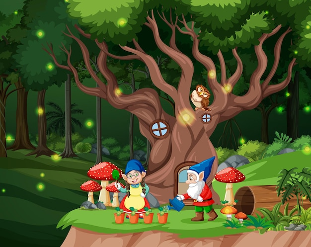 Fantasy forest scene with gnome family