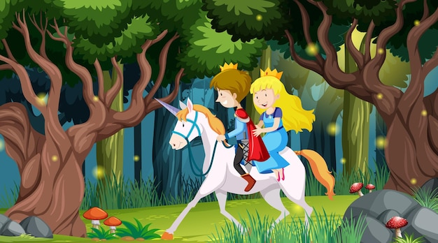Fantasy forest scene with prince and princess