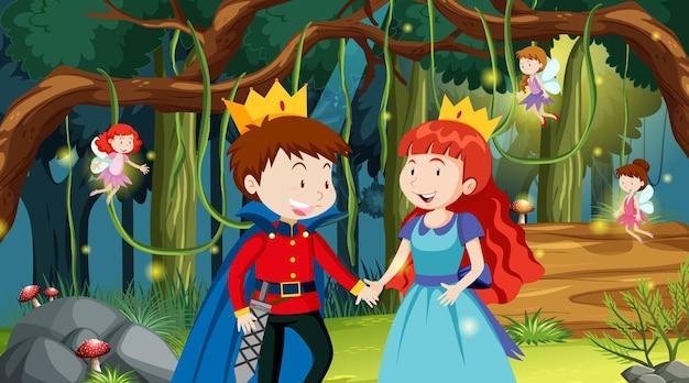 Scena di foresta fantasy con principe e principessa