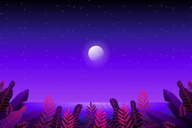 Fantasy forest with starry night sky and sea