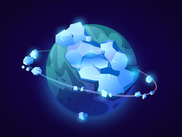 Фэнтези замороженная планета из вектора ледяных пиков