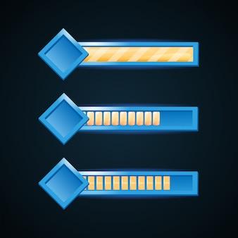ゲームのui要素の正方形のフレームの境界線を持つファンタジーゲームバー