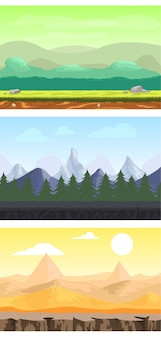 Fantasy game design landscapes set with meadow forest mountain and desert sceneries