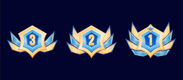 Фэнтези игра пользовательский интерфейс золотой значок с бриллиантами медаль с крыльями для элементов графического интерфейса