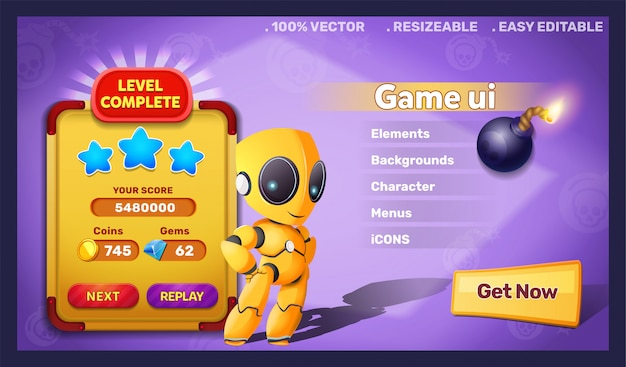 Fantasy game ui robot and level complete