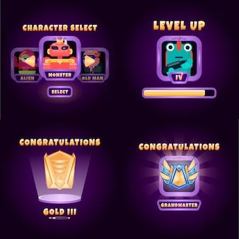 Комплект интерфейса экрана пользовательского интерфейса игры в стиле фэнтези с выбором персонажа и интерфейсом с повышенным рейтингом