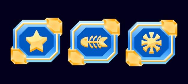 Набор пользовательских интерфейсов в фэнтези-игре золотая глянцевая ромбовидная рамка с боевыми кнопками с оружием для элементов графического интерфейса