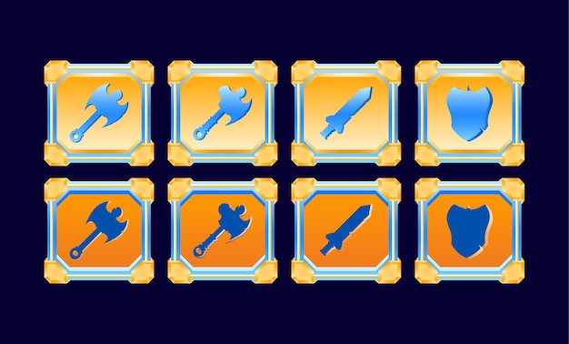 Fantasy game ui set golden glossy diamond frame fighting weapon button templates for gui asset elements