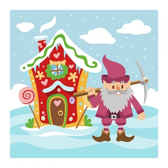 Fantasy gnome house illustration