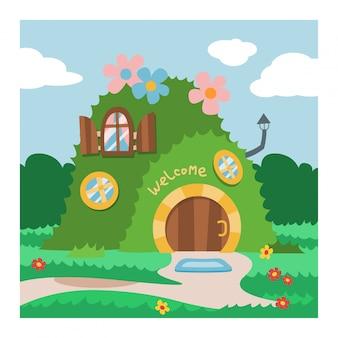 Фэнтези гном дом вектор мультяшный сказочный домик на дереве и волшебный гном сказка тыква