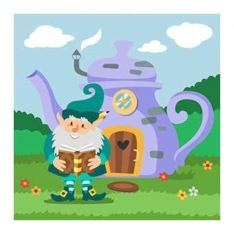 Fantasy gnome house villustration