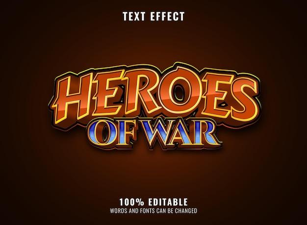Fantasy golden diamond heroes of war editable game logo title text effect