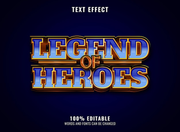 Fantasy golden glossy diamond legend of heroes editable game title logo text effect