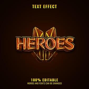 Фэнтези золотой средневековой ролевой игры логотип текстовый эффект