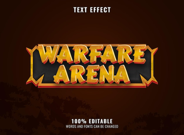Fantasy golden warfare arena with frame rpg game logo title text effect