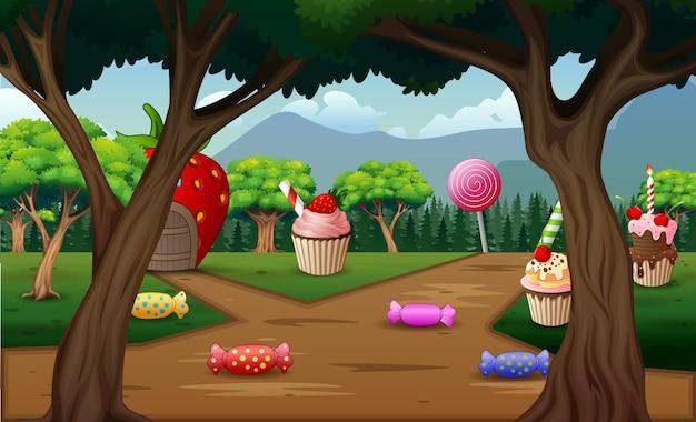 自然の中のファンタジーハウスと甘い食べ物