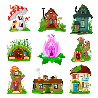 Fantasy house cartoon fairy treehouse and magic housing village illustration set of kids fairytale playhouse for gnome or elf isolated on white background