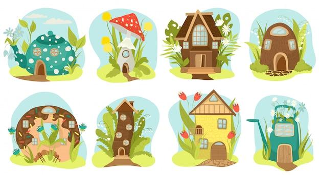 ファンタジーの家セット、おとぎ話の家のイラスト。妖精の樹上の家と魔法の家の村、ノームのためのおとぎ話の子供向けプレイハウス。ケーキ、ティーポット、キノコの形の想像上の家。