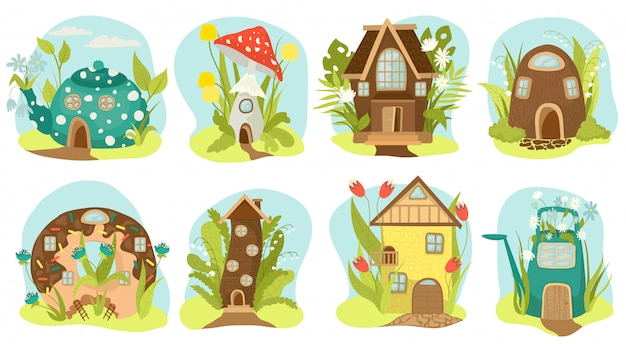Fantasy houses set, fairy-tale houses   illustrations. fairy treehouse and magic housing village, kids fairytale playhouse for gnome. imagination home in form of cake, teapot, mushroom.