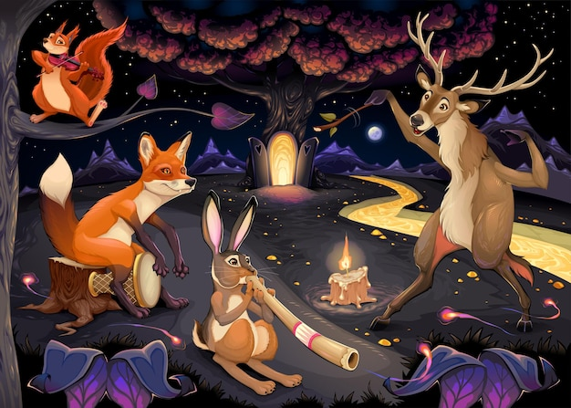Fantasy illustration with animals playing music in the wood
