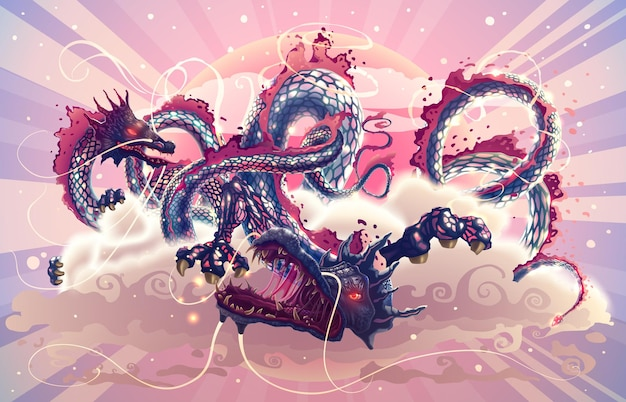 Fantasy japanese dragons in magic sky with clouds over red sun illustration on asian theme
