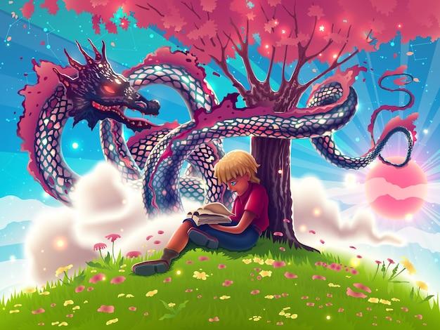 ピンクの木の下で面白い本を読んでいる男の子とファンタジー日本の空飛ぶドラゴン