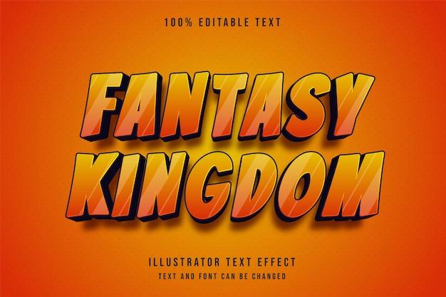판타지 왕국, 3d 편집 가능한 텍스트 효과 현대 노란색 그라데이션 오렌지 텍스트 만화 스타일