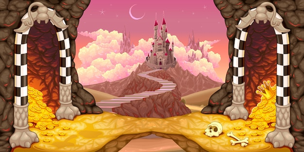 Fantasy landscape with castle, caverns and treasure