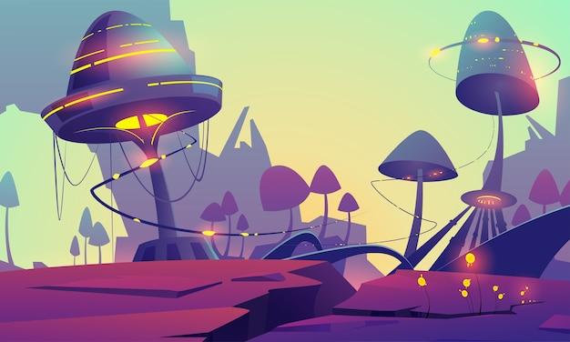 魔法の光るキノコと植物のあるファンタジー風景。巨大なキノコと山々と幻想的なエイリアンの自然のベクトル漫画イラスト。真菌と神秘的な屋外シーン