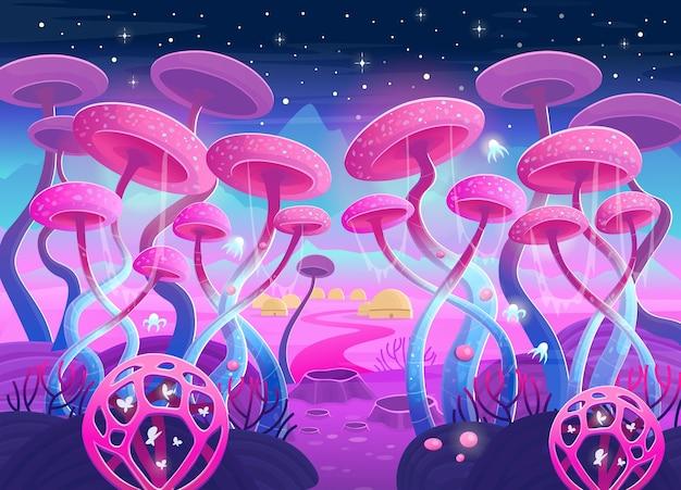 魔法の植物とキノコのあるファンタジー風景。空間のイラスト。ゲームとモバイルアプリケーションの背景。