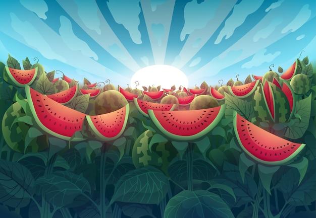 Фэнтезийный пейзаж с красными арбузами над голубым небом и восходом солнца