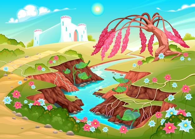 川、木、城のあるファンタジー風景
