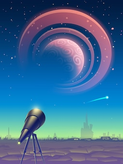 Fantasy landscape with telescope and view on space with magic pink planet with rings.