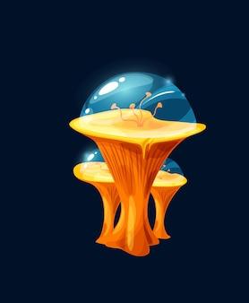 ファンタジーマジックゼリーイエローマッシュルーム。漫画ベクトルエイリアンの惑星植物、片足、アンテナまたは触手、透明な力場のドーム、おとぎ話のキノコと花または生きている生物