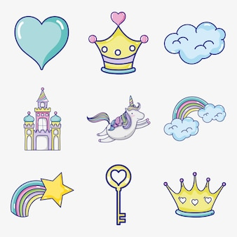 Fantasy and magic world doodle icons