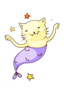Фэнтезийный кот-русалка. изолированные смешные русалка кошка рыба мультипликационный персонаж эскиз рисунок. вектор милые счастливые фантазии подводных животных каракули искусства