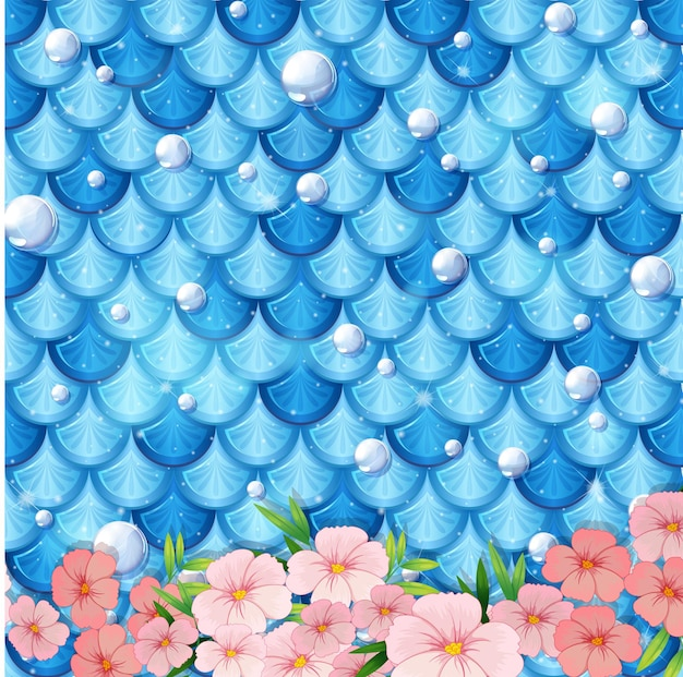 Fantasy mermaid scale pattern with many flowers