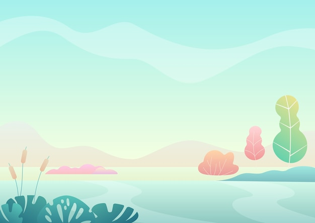 ファンタジーミニマルな夏のフィールドトレンディなグラデーションカラー風景