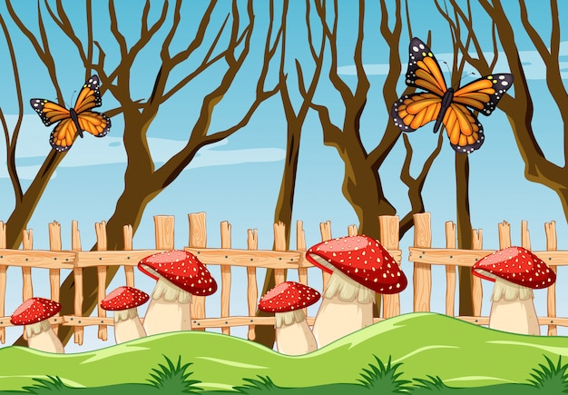 庭の意味の漫画のスタイルでファンタジーキノコ蝶