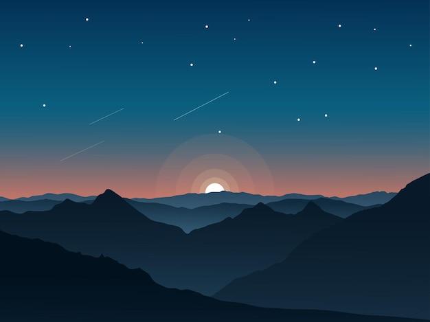 山と星空のあるファンタジーの夜の風景