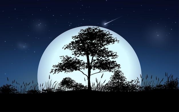 달에 대 한 나무와 판타지 밤 풍경