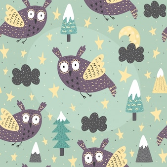 Fantasy owl flying at night seamless pattern