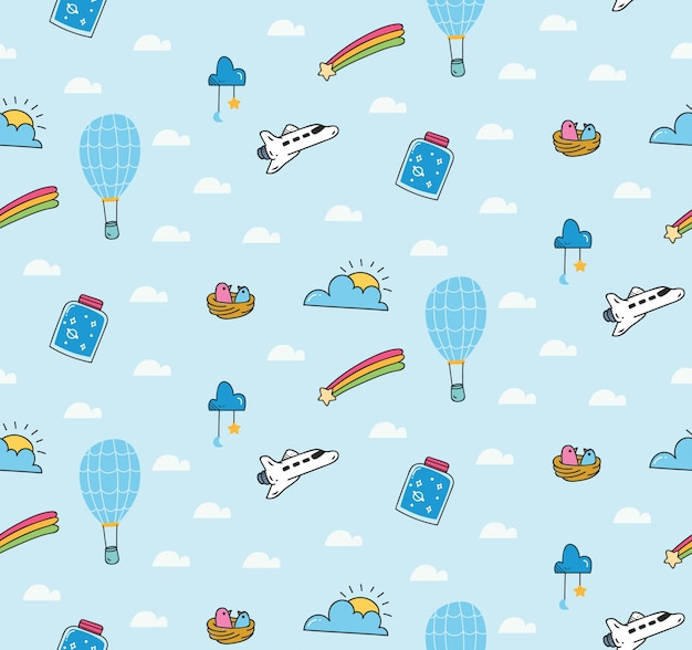 Fantasy pattern with balloon and space shuttle