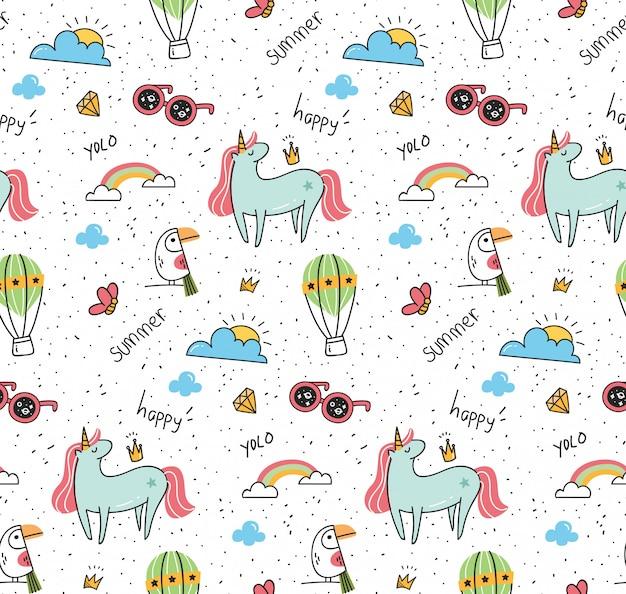 Fantasy pattern with unicorn and bird