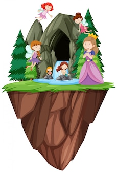 Fantasy people in front of cave