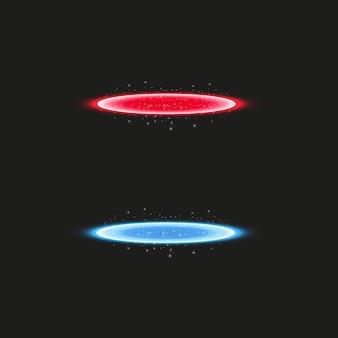 ファンタジーポータル。未来的なテレポート。光の効果。透明な背景に火花と夜のシーンの青と赤のキャンドル光線。表彰台の空の光の効果。ディスコクラブのダンスフロア。