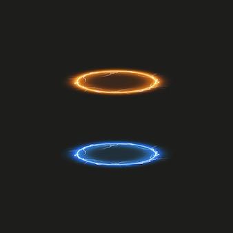 ファンタジーポータル。未来的なテレポート。光の効果。透明な背景に火花と夜のシーンの青と黄色のキャンドル光線。表彰台の空の光の効果。ディスコクラブのダンスフロア。