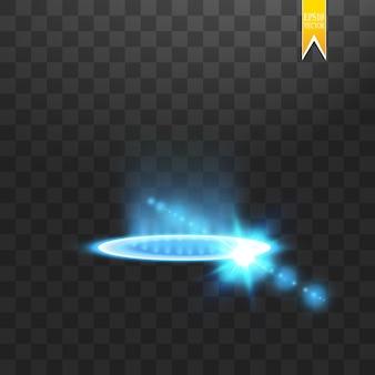 ファンタジーポータル。未来的なテレポート。光の効果。透明な背景に火花と夜のシーンの青いキャンドル光線。表彰台の空の光の効果。ディスコクラブのダンスフロア。