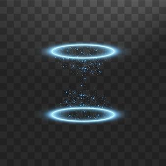 ファンタジーポータル。未来的なテレポート。光の効果。火花と夜のシーンの青いキャンドル光線